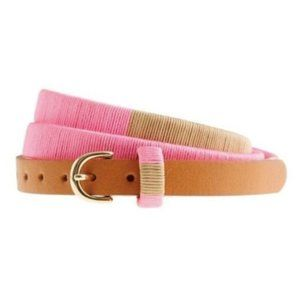 Pink J. Crew thread-wrapped skinny leather belt